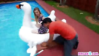 Sexy brunette Daisy Chainz seduced and fucked by a pool guy