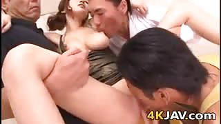 Busty Japanese Slut In A Foursome
