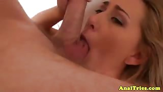 Blonde anal lover sucking dick POV style