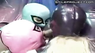 Latex Masked Chicks Sucking Cock
