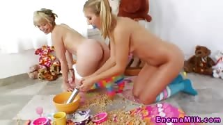 Milky squirting enema girls drink milk
