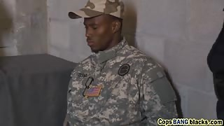 Black soldier with massive cock fucking hard two female cops