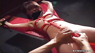 Restrained Asian Whore Maho Sawai Gets Vag Vibrated