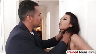 Asian bitch Miko Dai tied up and rammed by pervert man
