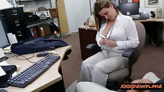 Foxy business woman railed by pawn man in the pawnshop