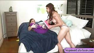 Teen Skye West and mature Eva Long lesbian action on the bed