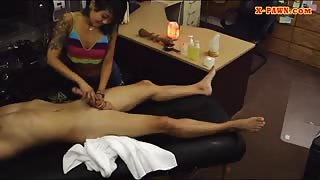 Slut pawns her massage table and fucked by horny pawn dude