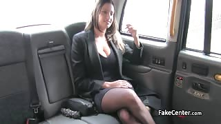 Black stocks busty fucked in the fake taxi outdoor