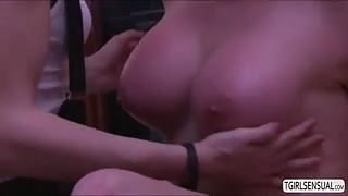 Big tits redhead TS Aspen loves getting her ass stuffed with shemale cock