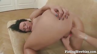 Two Lovely Brunette Lezzies Gets Fisting