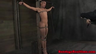 Tied up bdsm sub Nikki Darling whipped