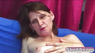 Horny senior citizen mama showing flawless pussy rocking deeply on young dick