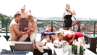 Outdoor bisexual orgy sucking and fucking