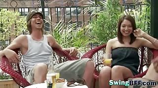 Striptease and role play fun in a swingers reality show