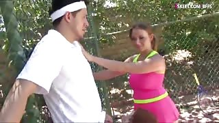 Redhead teen pounded by her tennis coach with her friend