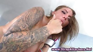 Busty tattoo domina pegs