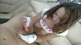 Teen gives a panty hand job