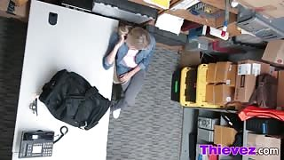 Blonde teen thief caught and banged on office desk