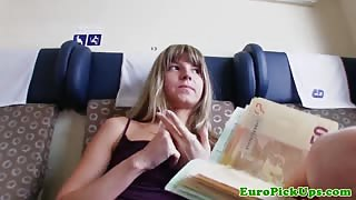 Pulled petite amateur euro babe sucks in train