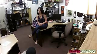 Busty brunette Cuban woman gets fucked hard by the pawnshop owner