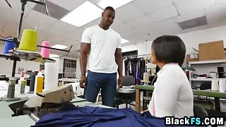 Asian suit maker paid BBC basketball player with her trimmed hairy tight pussy for damaged