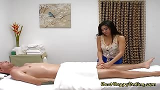 Masseuse Ember Snow Blows Her Hung Client