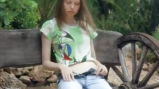 Shaved skinny super teen teasing pussy