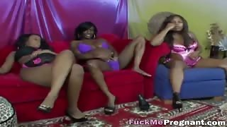 Pregnant black lesbians play with their pussies using fingers and toys