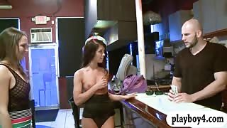 Petite women get banged by bald guy in the bar for cash