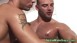 Muscular gay dudes sucking dick together