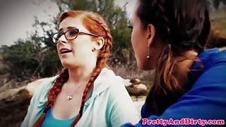 Throated redhead babe assfucked in taboo trio