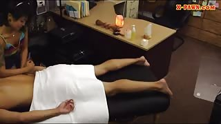 Slut pawns her massage table and reamed by nasty pawn dude