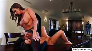 Lesbians Abigail Mac and Zoey Monroe filling up  fat ass with sex toy
