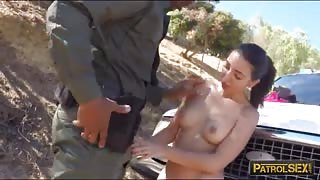 Pretty latina sucks off and pounded by border patrol agent
