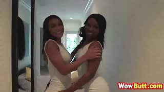 Hot ebony babes Skyler Nicole and Nicole Bexley enjoys preparty threesome fuck
