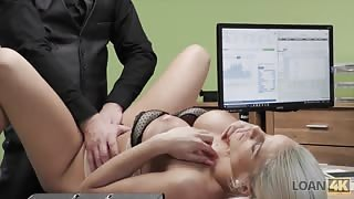 Busty blonde hottie fucked on office desk
