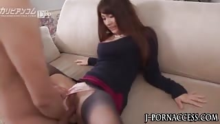 Sexy nylon wearing asian babe fucked