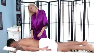 Big stacked blonde therapist seduces a hung client