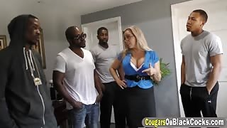Busty blonde MILF Amber Lynn take many huge black cocks at same time