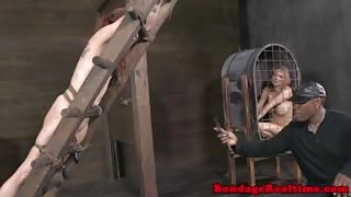 BDSM sub Bella Rossi punished with clamps