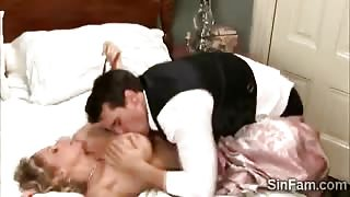 Perv makes stepmommy squeal like a bitch with his huge dick