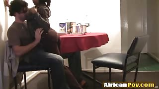 African chick gives head and gets banged in doggy