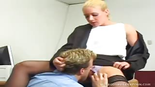 Raunchy Blonde Body-Builder Nympho  Takes  Aroused Weiner  In Cunt