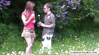 Crazy Belle fucks with guy outdoors with passion and love so intense