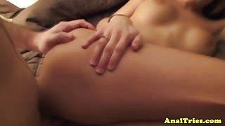 Anal pounded amateur girlfriend moans loudly
