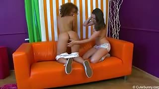 Bi-Curious Gals Play With Each Others Pussies With A Huge Dildo