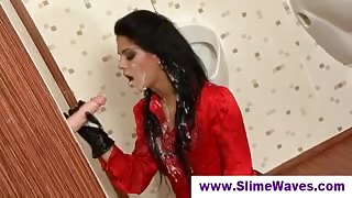 Plastic Rod Through Glory Hole Shoots Load All Around Gal