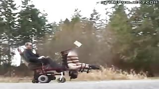Chick Strapped Upside Down To Mobile Fucking Machine Cart