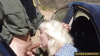 Bitch With The BLonde Hair Gets Railed At The Border Crossing