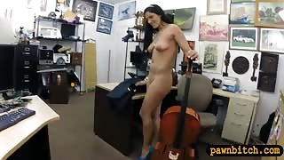 Amateur babe sells her Cello and stuffed at the pawnshop